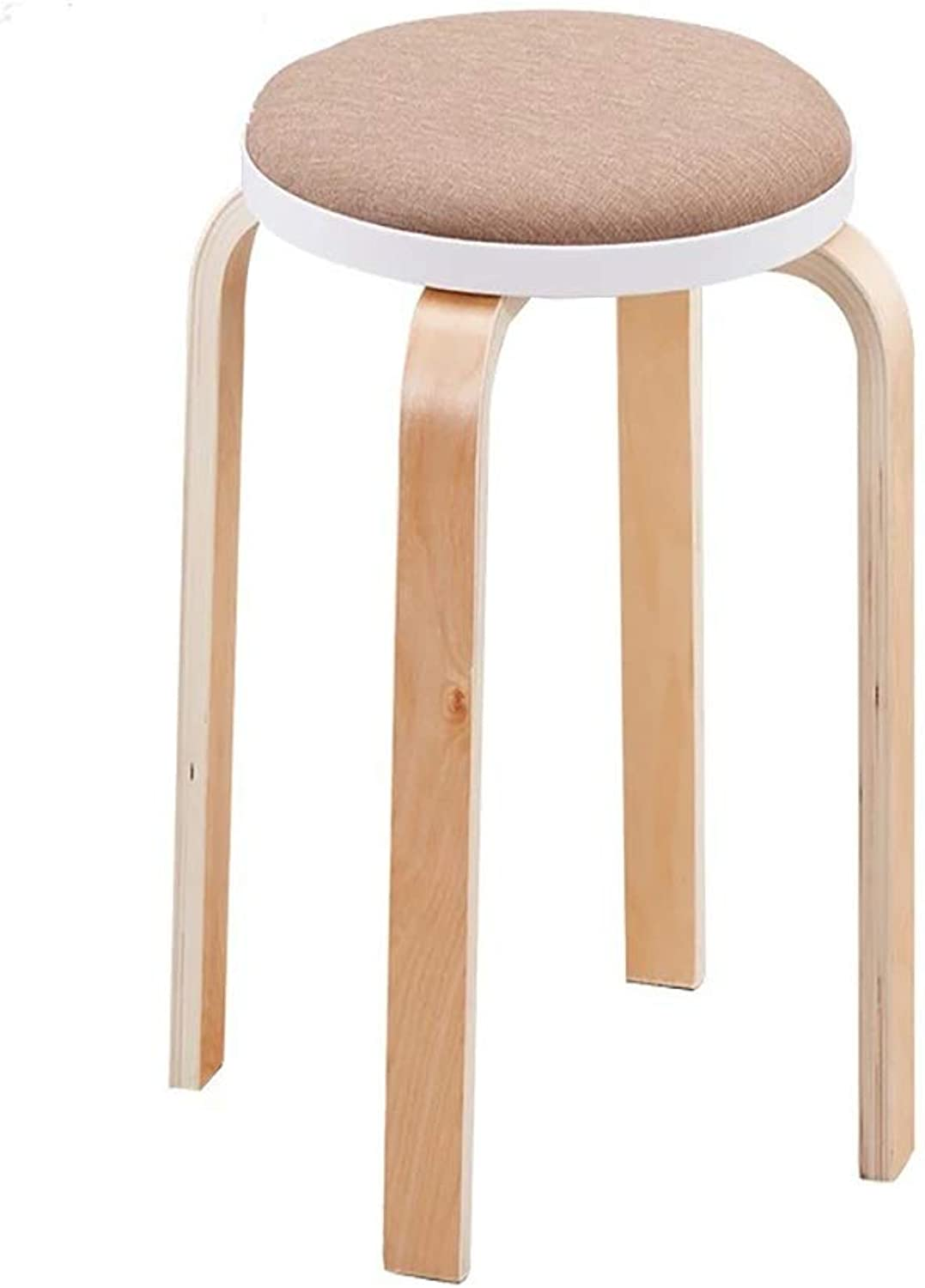 Barstools,Bar Stools Stool Home Thickening Fashion Creative Plastic Small Round Bench Adult Dining Stool High Solid Wood Round Stool Khaki color