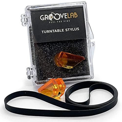 GrooveLab® - Pacchetto di aghi per giradischi e cinghia stilo per tecniche di restauro di giradischi in vinile - Modello SL B2 - SL BD 22 - SL B210