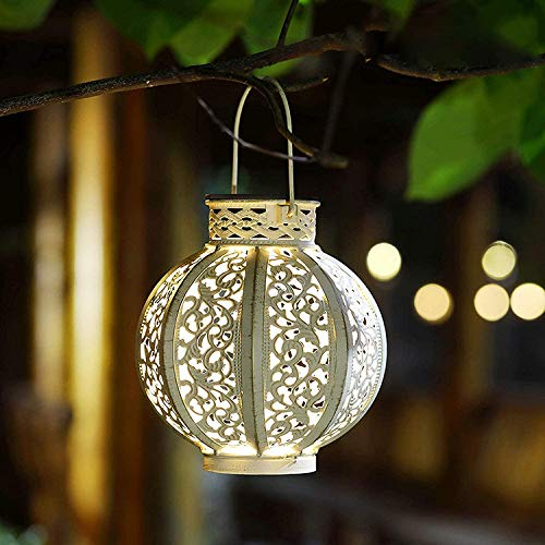Leoie Night Light,Solar Garden Light,orientalische lampe,outdoor lights,Hanging Lights,Metal Solar Lantern,IPX54 Waterproof,Lights Moroccan White
