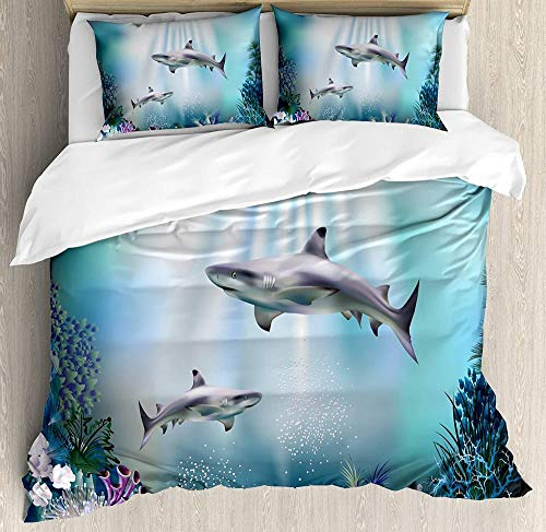 HUA JIE Soft Microfiber Quilt Cover Underwater Duvet Cover Set, Realistic Illustration Wild Sharks And Plants Corals Seaweed Aquatic Ocean Life