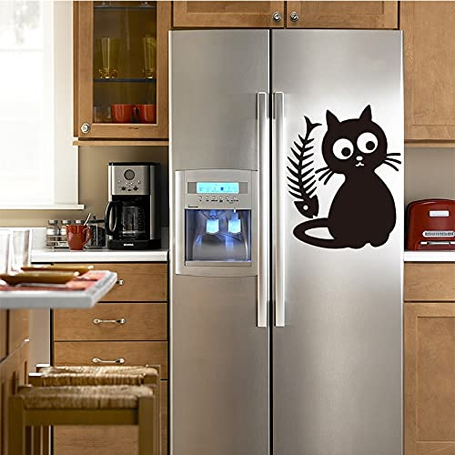 Usmnxo Lindo Gato Comida Vinilo Etiqueta de la Pared calcomanía Arte Cocina azulejo refrigerador Papel Tapiz habitación de los niños decoración del hogar 40x55 cm