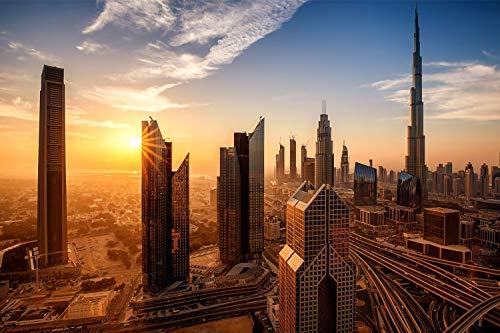 City Skyline Dubai XXL Wandbild Kunstdruck Foto -Poster- P1987 Größe 90 cm x 60 cm
