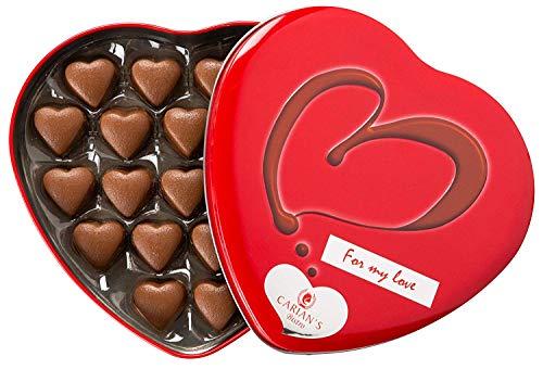 Full of Love Valentines Assorted Gourmet - Premium Milk Chocolate Candy Truffles - Luxury Tin Heart Gifting Box - Birthday, Anniversary Ideas for Women, Female, Teacher & Mom (40 Count)