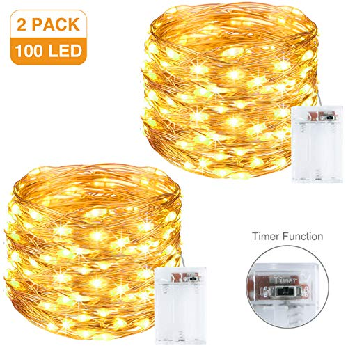Litogo Luci LED Batteria [2 Pezzi], [Timer] Catena Luminosa 10m 100 LED Filo Rame Ghirlanda Luminosa...