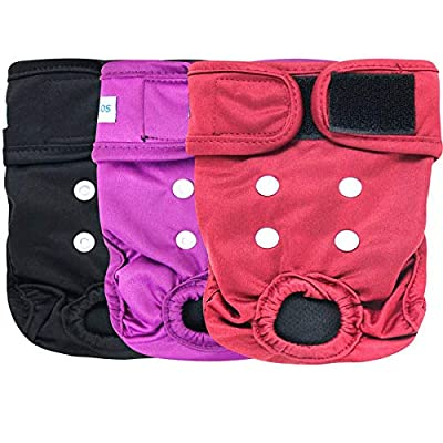 Leekalos Reusable Washable Dog Diapers Female (3 Pack) - Highly Absorbent Doggie Diapers - Size Adjustable Puppy Diapers for Dog Period Panties (Small,Red,Purple,Black)