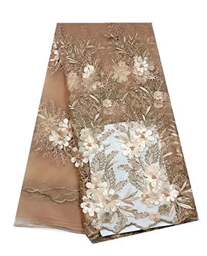 Afrikaanse kant stof kant 3d Applique Kralen Borduren Tulle Franse Kant Stof for Wedding Lace (Color : Light gold, Size : 5 yards)