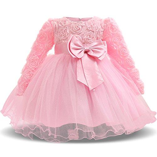 TTYAOVO Baby Mädchen mit Langen Ärmeln Spitze 3D Blume Prinzessin Birthday Party Tutu Kleider 0-6 Monate Rosa