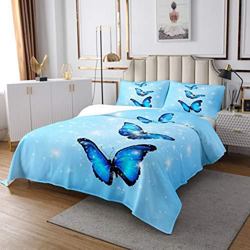 Juego de colcha de mariposas azules con estampado de mariposas para niños y niñas, con 1 funda de almohada, tamaño individual