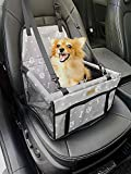 FANCYDELI Puppy Car Seat Upgrade Deluxe Portable Pet Dog Booster Car Seat Waterproof with Clip-On Safety Leash,Perfect for Small Pets Light Grey up to 15 lbs