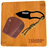 Branded Boards Bushcraft Stainless BBQ Grill Grate, Bamboo Cutting Board, Burlap Hemp Drawstring Bag, Mini Camp Knife. Camping, Backpacking, Hunting & Fishing. (Cutting Board & Knife)