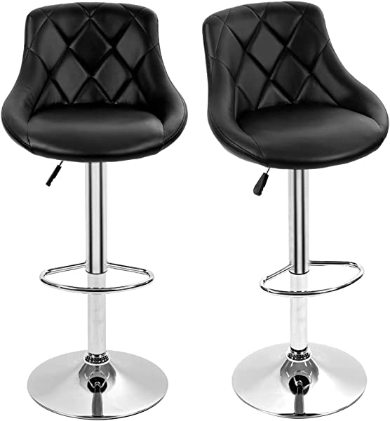 Dkeli Counter Height Bar Stools Set Of 2 Leather Adjustable Bar Chairs For Kitchen Living Room Pub Swivel Bar Stool Armrest Black