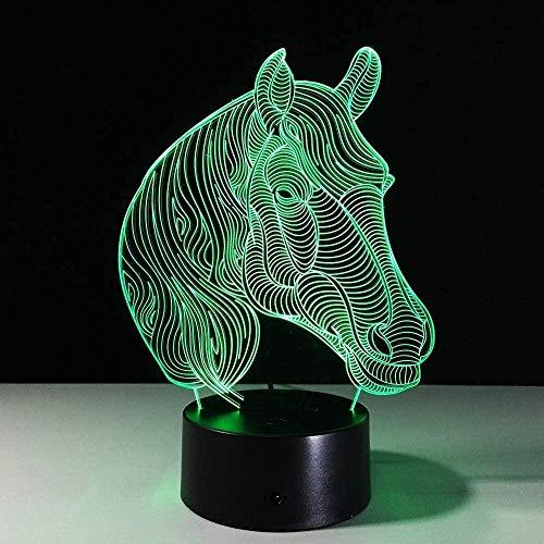 3D Night Light USB Novedad Regalo Animal Horse LED Night Light con 3 variaciones de color 3D Led Lámpara de mesa como decoración del hogar Barato al por mayor