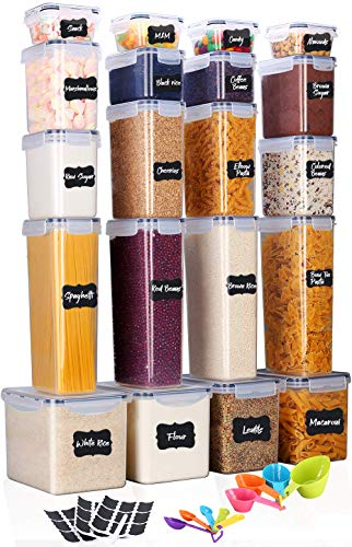 Food Storage Containers-40-Piece Set (20 Container Set)Large food Storage Containers Airtight with Interchangeable Lids Dry Food Space Saver Reusable Spoons/Marker/Labels Kitchen & Pantry Organization