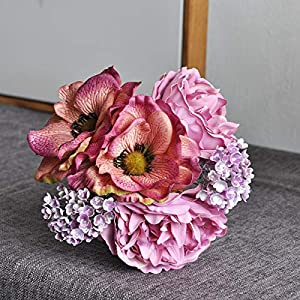DAOHE Nordic Peony Bouquet Anemone Wedding Bridal Bouquet Silk Artificial Flowers DIY Scrapbook Flores Room Decor(Fuchsia)