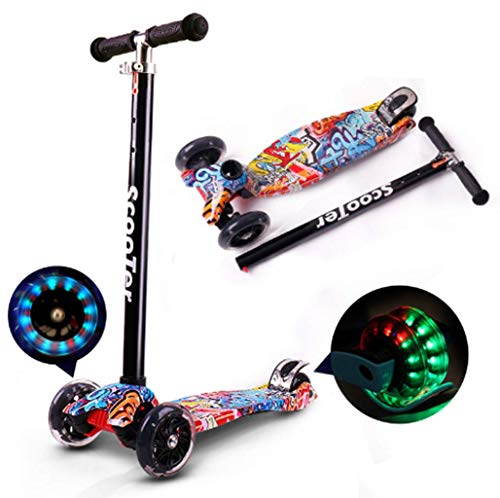 Jipemtra Kick Scooters for Kids Folding Kick Scooter Height Adjustable LED PU Flashing 4 Wheels Colorful Foldable with Gorgeous Graffiti Kids Gift for Birthday Holiday Red