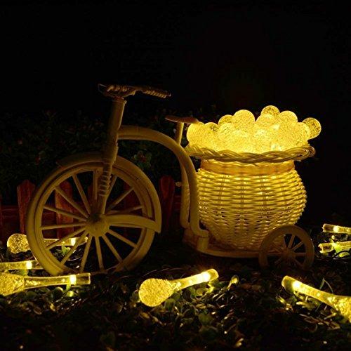 Luci Stringa di Natale, LightsGoal Fairy Luce Stringa Solare, Lampade a Goccia d'acqua, Illuminazione di Festival, Night String Lamp per Casa, Giardino, Hotel, Ristorante, Albero, Bianco Caldo