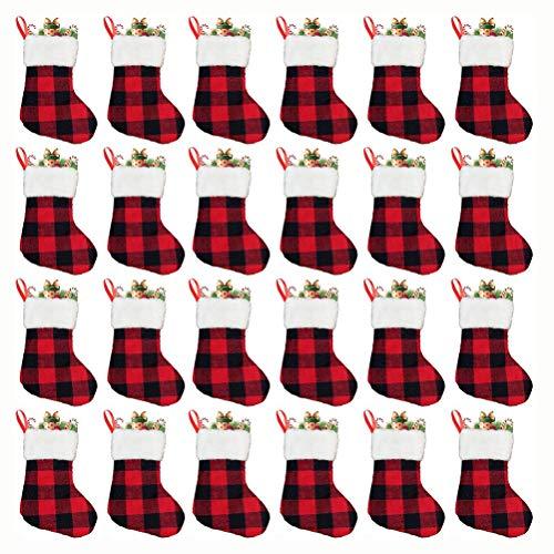 Macabolo 24 Pack Kerstmis mini kousen plaid pluche manchet klassieke zilverwaren houder servies tassen voor familie kantoor party 18 * 15cm