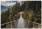 Panorama Póster Puente Colgante 70 x 50 cm - Láminas Decorativas Pared - Impreso en Papel 250gr - Cuadros Paisajes - Póster Naturaleza - Cuadros Decoración Salón