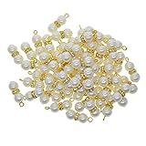 sharprepublic Venta Al por Mayor 50 PCS Resina Pearl Charm White Rondelle Space Pearls Colgante A Granel para Hacer Joyas