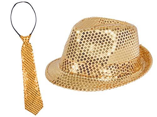 Alsino Glitzerhut mit Party Krawatte in Gold Karneval Party Set Pailletten Trilby Hut Fasching