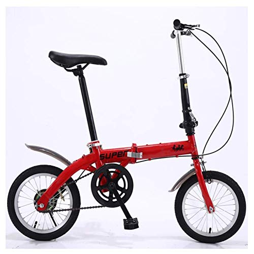 Chenbz Outdoor sports 14In Folding Bike, Lightweight Aluminum Frame, Foldable Compact Bicycle with VStyle Brakes And WearResistant Tire for Adults (Color : Red)