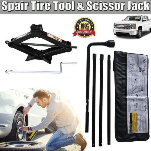 Wrench Tool + Scissor Jack for 2000-2014 GMC Sierra Chevy Silverado Spare Tire Lug Wrench Extension Jack Tool Kit Set 2 Ton Scissor Jack Spare Tire Jack Handle Lug Nut Repair Tool