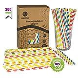 GoBeTree 300 Pajitas de Papel biodegradables con Colores Variados, Pajita Desechables ecológicas compostables. Cañitas para Fiestas,...