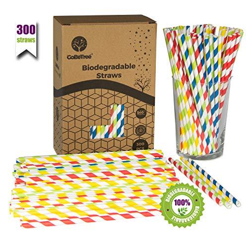 GoBeTree 300 Pajitas de Papel biodegradables con Colores Variados, Pajita Desechables ecológicas compostables. Cañitas para Fiestas, cumpleaños y Celebraciones. Bebidas frías y Calientes.