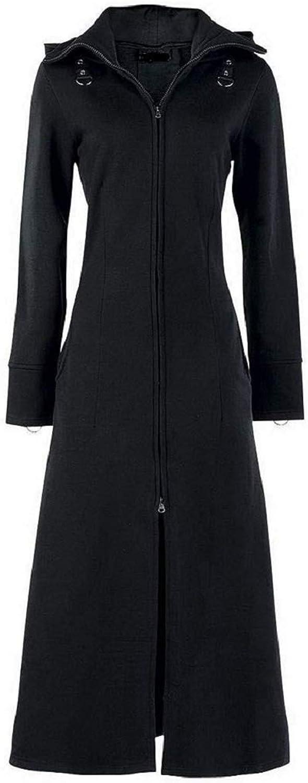 Darkrock Women's Black Fleece Long Zip Up Hooded Raven Steampunk Coat Jacket with Pockets
