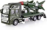 Zeyujie Aleación tirón trasero cohete carro, 1:48 aleación tira atrás tirado a presión juguete juguete militar modelo cohete lanzador misil coche camión transporte vehículo modelo niños juguete modelo