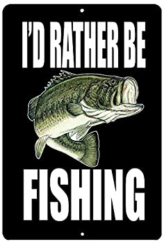 Rogue River Tactical Funny Fishing Boat Metal Tin Sign Wall Decor Man Cave Bar I d Rather Be Fishing