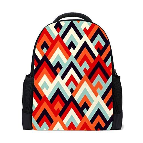 HAOXIANG - Mochila escolar con diseño de rombos geométricos coloridos para niños y estudiantes Color1 16x11x6