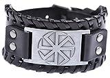 fishhook Slavic Sun Wheel Kolovrat Talisman Bangle Leather Bracelet for Man and Women (Antique Silver,Black)