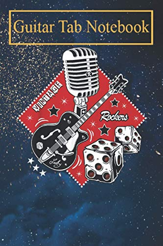 Guitar Tab Notebook: Rockabilly 50s Sock Hop Rock N Roll Women Men Rocker Guitar -TcKei Blank Sheet Music For Guitar over 100 Pages With Chord Boxes