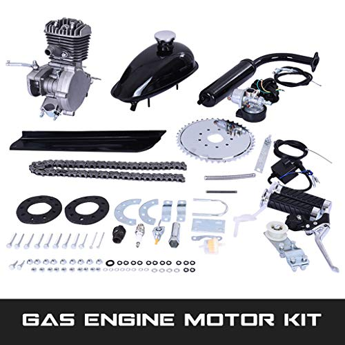"""80CC Bicycle Engine Kit, Motorized Bike 2-Stroke, Petrol Gas Engine Kit, Super Fuel-efficient for 24"""",26"""" or 28"""" Bicycle (Silver)"""