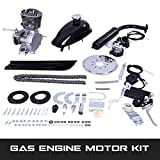 80CC Bicycle Engine Kit, Motorized Bike 2-Stroke, Petrol Gas Engine Kit, Super Fuel-efficient for 24',26' or 28' Bicycle (Silver)