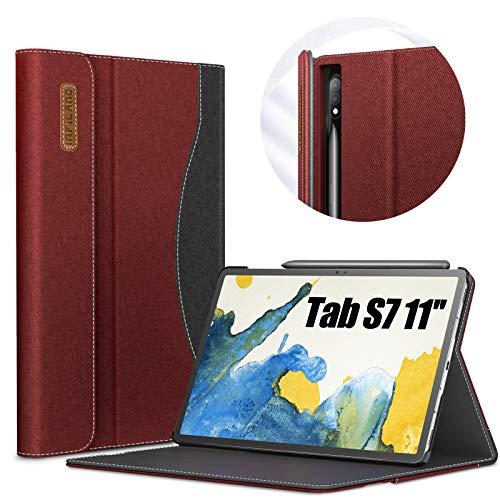 INFILAND Custodia per Samsung Galaxy Tab S7 11 2020, Supporto Anteriore Borsetta Custodia Cover per Samsung Galaxy Tab S7 11 (T870/T875) 2020, Automatica Svegliati/Sonno,Vino Rosso