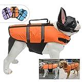 Lovelonglong Dog Lifejacket Life Jackets for Pugs French Bulldog Medium Dogs Swimming Safe Boating Coat Dog Swim Protect Reflective Vest Pet Life Preserver Orange L-S