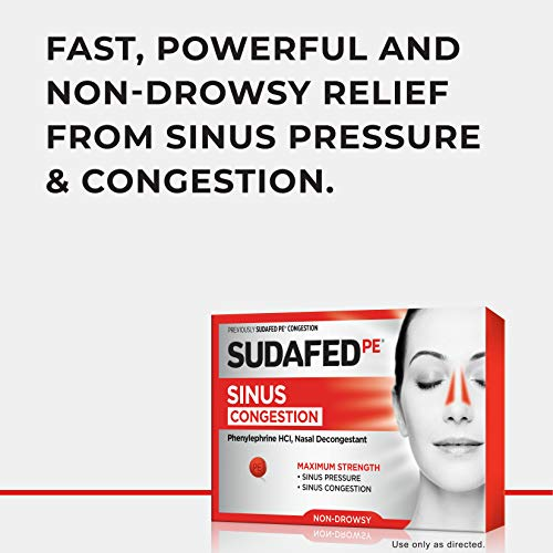 Sudafed PE Sinus Congestion Maximum Strength Non-Drowsy Decongestant Tablets, 36 ct
