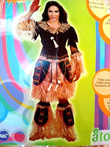Disfraz de India del Amazonas, con flecos. Talla única de mujer.