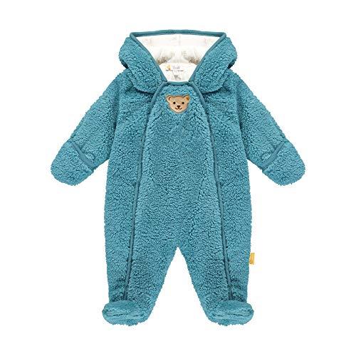 Steiff Baby-Jungen mit süßer Teddybärapplikation Einteiler, Türkis (Adriatic Blue 6045), 056