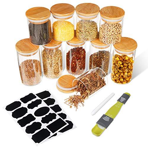 SAWAKE 10pcs Tarros de Vidrio de Almacenamiento(250 ml*5+350 ml*5) Botes de Cristal con Tapa de Bambú&Anillo de Silicona, Recipientes Herméticos para Especias,Cereales,azúcar,té,Frijoles,Pasta,nueces