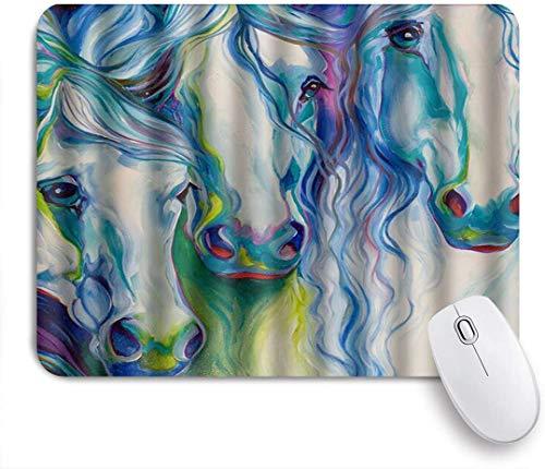 Dekoratives Gaming-Mauspad,Abstrakte Aquarell-Pferdekunst,Bürocomputer-Mausmatte mit rutschfester Gummibasis