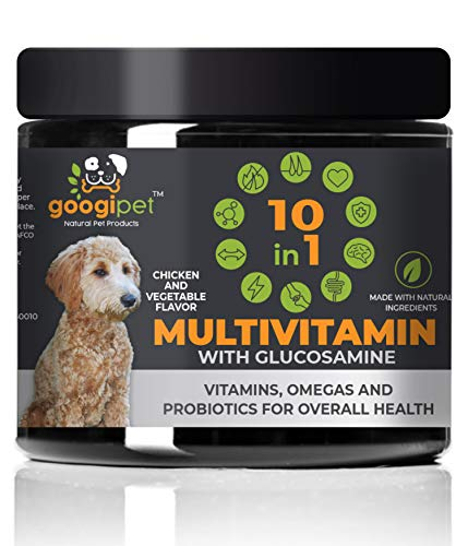 Natural 10 in 1 Dog Multivitamin with Glucosamine & PurforMSM for Dog Hip and Joint Support - Essential Dog Vitamins w/ Chondroitin, Probiotics & Omega Fish Oil -One Dog Supplement for Overall Health