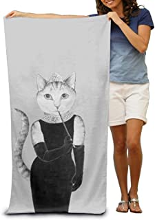 Elegant Cat Lady Adult Beach Towels Fast/Quick Dry Machine Washable Lightweight Absorbent Plush Multipurpose Use for Swim,Beach,Camping,Yoga