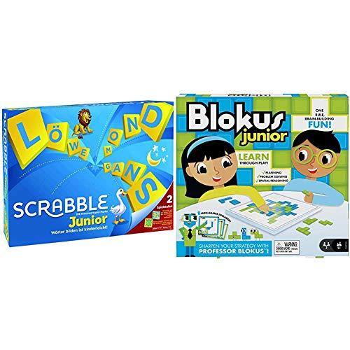 Mattel Games Y9670 - Scrabble Junior Wörterspiel und Kinderspiel, Kinderspiele Brettspiele geeignet für 2 - 4 Kinder ab 5 Jahren + GKF59 - Blokus Junior Kinderspiel und Lernspiel, geeignet