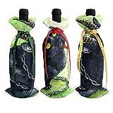 BK Creativity Red Wine Bag,Black Cat Christmas Folklore 3Pcs Xmas Gift Borse per Bottiglie di Vino Rosso per Arredamento Casa Cucina