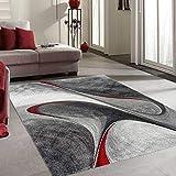 UN AMOUR DE TAPIS - Tapis Moderne 1060 - Grand Tapis Rond madila - Rouge, Gris, Noir - 200 x 200 cm