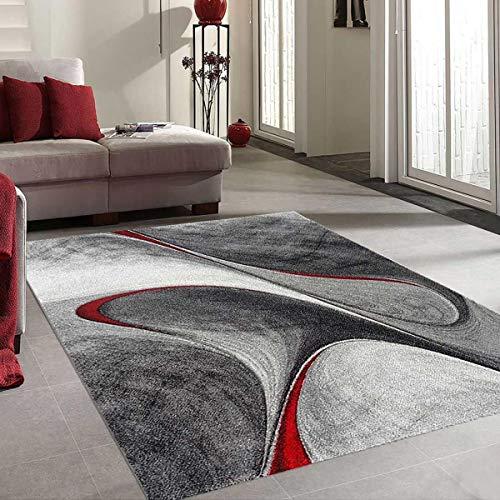 UN AMOUR DE TAPIS 60x110 Tapis Salon Moderne Design Poils Ras Rectangulaire - Petit Tapis d Entree Interieur - Tapis Entree Rouge Gris Noir
