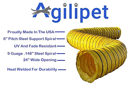 "First Choice Products Agilipet Professional Grade UV Resistant - 24"" Diameter - Dog Training Agility Tunnel (15 Ft, 14 Ounce Yellow)"